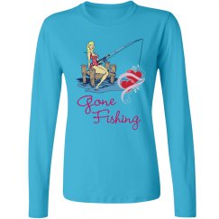 Gone Fishing - Ladies long sleeve shirt - Turquoise