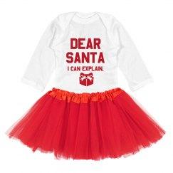 Dear Santa, I can explain baby bodysuit & tutu