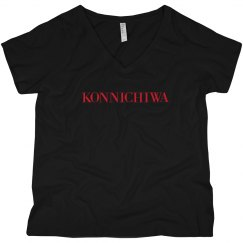 Konnichiwa Black V-Neck Tee Red Text