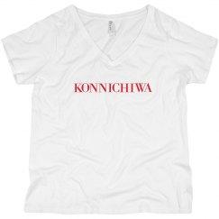 Konnichiwa Black V-Neck Tee Red Text