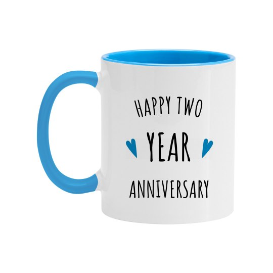 Happy 2 Year Wedding Anniversary 11oz Two Tone Ceramic Coffee Mug