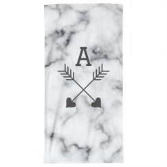 Custom Initial Marble Beach Towel