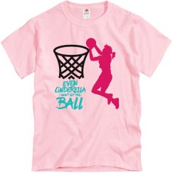 Pink tee w/girl basketball graphic