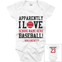 Funny Baseball Baby Custom Onesie With Name Number