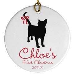 Cat's First Christmas Custom Cat Name Ornament