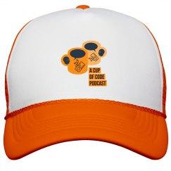 Hot Orange A Cup of Code Podcast Trucker Cap