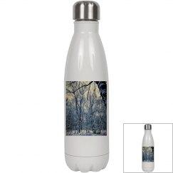 Winter Landscape Tall Bone White Water Bottle