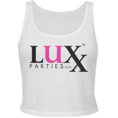 Ladies Crop Tank-Pink & Black Logo