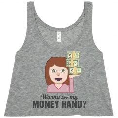Color Guard Money Hand Toss Funny Emojis Crop Top
