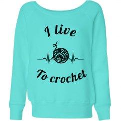 Crochet heartbeat sweatshirt