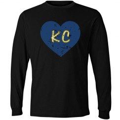 I Heart KC LS - black/royal - ultrasoft - distressed