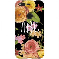 Black Floral Monogram Custom