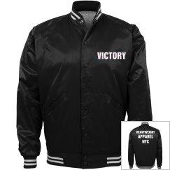 Black and white satin bomber jacket