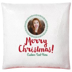 Merry Christmas Custom Photo Upload Sequin Pillow Case