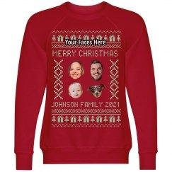 Custom Faces Family Christmas Tree Ugly Sweater