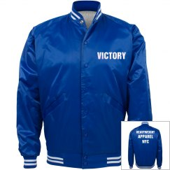 Blue and white satin bomber jacket