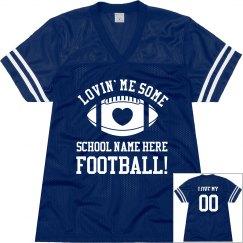 Custom School Name Football Mom Love Jerseys With Back