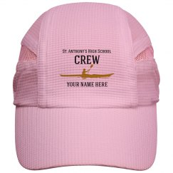 PERSONALIZED WHITE HAT W/ BLACK WRITING WITH GOLD BOAT