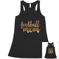 Custom Gold Metallic Football Mom