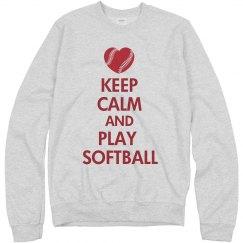 Keep Calm Softball Heart