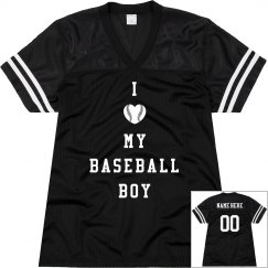 Love My Baseball Boy Baseball Girlfriend Custom Back