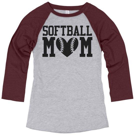 Cute Softball Mom Shirts Ladies Relaxed Fit 3 4 Sleeve Raglan T Shirt