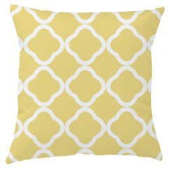 Yellow And White Quatrefoil Throw Pillow Cover