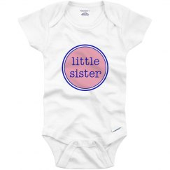 Little Sister Onesie Pink Navy