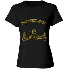 Women Bigg money Bookz design 1 shirt jet black