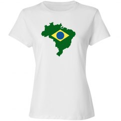 Brazil Flag Outline Relaxed Fitted White Tee