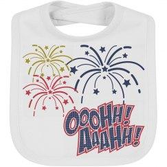 4th of July Fireworks Baby Bib