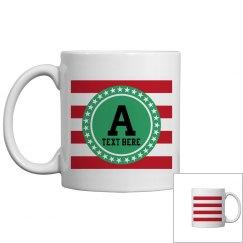 Red White and Green Monogram Coffee Mug
