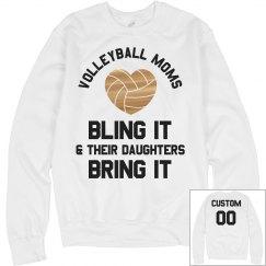 Metallic Custom Volleyball Mom Text