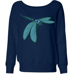 Navy blue sweater with dragonfly