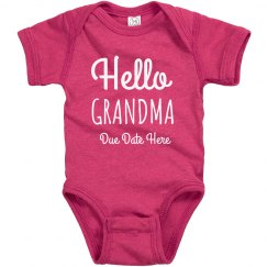 Custom Pregnancy Announcement Hello Grandma