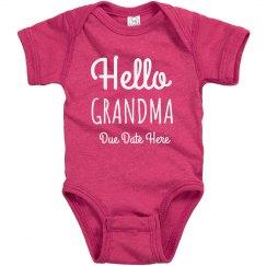 Custom Pregnancy Announcement Hello Grandma