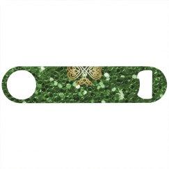 Golden Shining Celtic Shamrock Bright Green