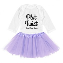 Infant Long Sleeve Baby Rib Bodysuit with Tutu