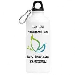 Let God Transform You, water bottle, Blue/Green