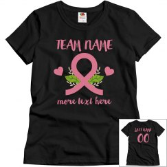 Team Name Breast Cancer Custom Ribbon Top
