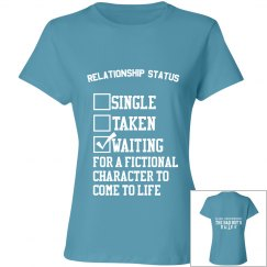 WAITING FOR A FICTIONAL CHARACTER blue T-shirt