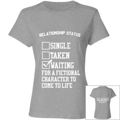 WAITING FOR A FICTIONAL CHARACTER grey T-shirt