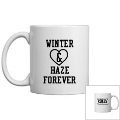 WINTER AND HAZE FOREVER white mug