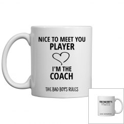 NICE TO MEET YOU PLAYER white coffee mug