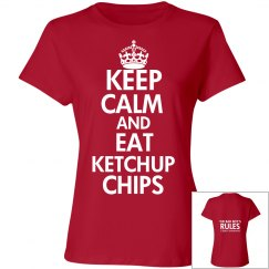 EAT KETCHUP CHIPS red T-shirt
