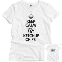 EAT KETCHUP CHIPS white T-shirt