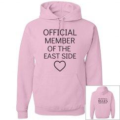 JERK, PRUDE text messages pink hoodie