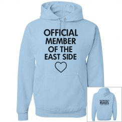 JERK, PRUDE text messages blue hoodie
