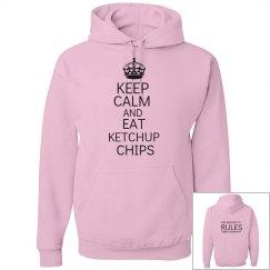 EAT KETCHUP CHIPS pink hoodie