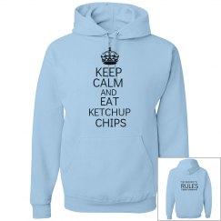 EAT KETCHUP CHIPS blue hoodie